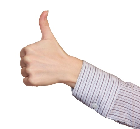 Thumb up hand by business woman  Success concept Stock Photo - 17689208