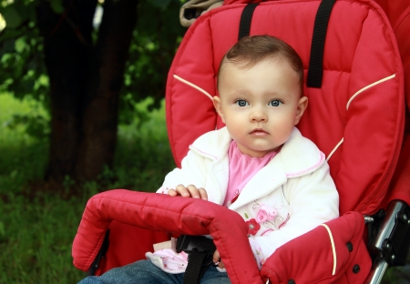 Baby sitting in stroller with fun look on summer green background photo