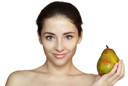 Smiling woman and green pear isolated on white background  Diet and health concept Stock Photo - 17758537