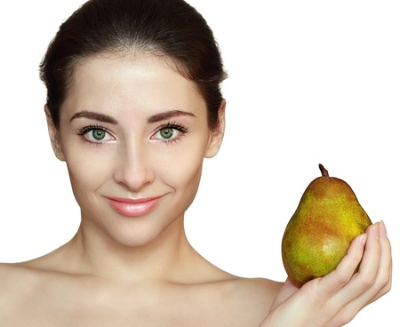 Woman and green pear isolated on white background  Closeup portrait with empty space Stock Photo - 17758536