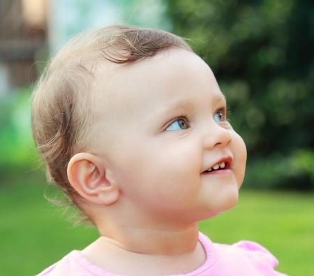 Happy baby outdoor summer background Stock Photo - 17792868