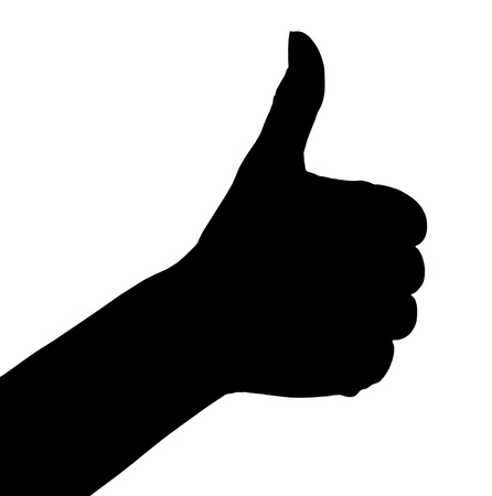 finger up: Silhouette of thumb up hand  Ok sign isolated on white background