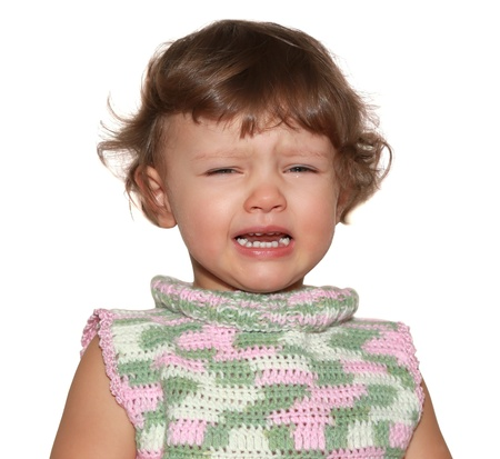 Crying kid girl with opened mouth isolated on white background  Closeup portrait Stock Photo - 18184532