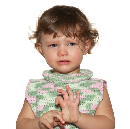 Sad baby isolated on white background  Closeup portrait Stock Photo - 18184534