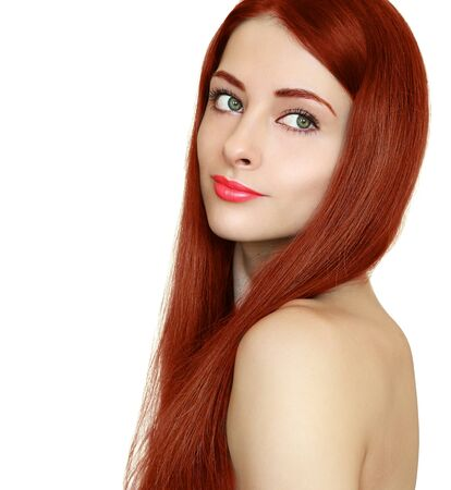 Beauty girl with healty smooth long red hair looking back isolated on white Stock Photo - 18424733