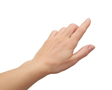 Female hand clicking, touching virtual screen isoleted on white background Stock Photo - 18597133