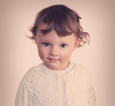 Smiling beauty child girl face  Closeup vintage portrait  Stock Photo - 18763002