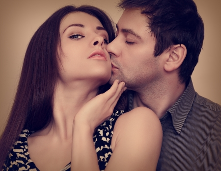 Passion portrait of sexy couple in love  Closeup Stock Photo - 18857115