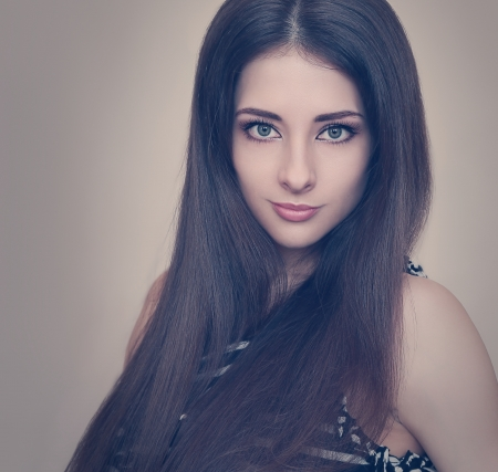 Glamour girl with sexy look and healthy long hair  Retro closeup portrait Stock Photo - 19000357