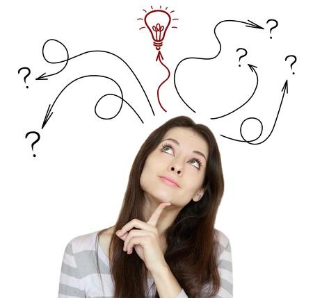 preguntando: Mujer de pensamiento toma de decisiones y tener una idea de ella mirando hacia arriba aislados en fondo blanco