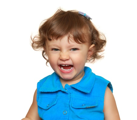 Laughing fun girl in blue dress  Closeup isolated portrait Stock Photo - 19127138