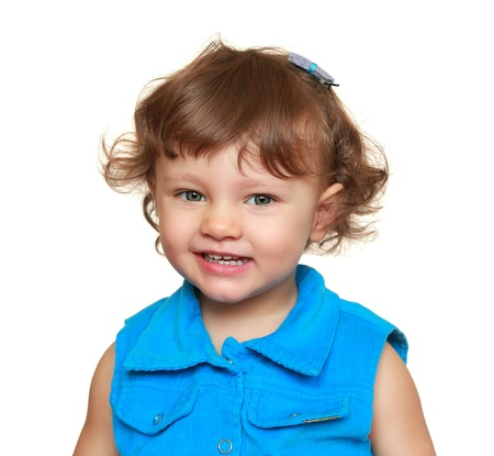 Happy smiling baby girl looking  Closeup isolated portrait Stock Photo - 19127139