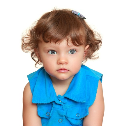 Beautiful blue eyes girl with thinking look  Sweet bright closeup portrait isolated on white background Stock Photo - 19127140