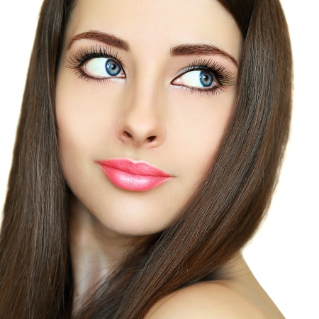 pink lips: Beauty woman face with brown health hair  Closeup isolated portrait