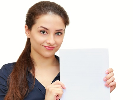 Business beautiful woman holding empty blank of paper with smile isolated on white background photo