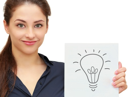 Business woman holding banner with idea bulb sign isolated on white background  Closeup portrait photo