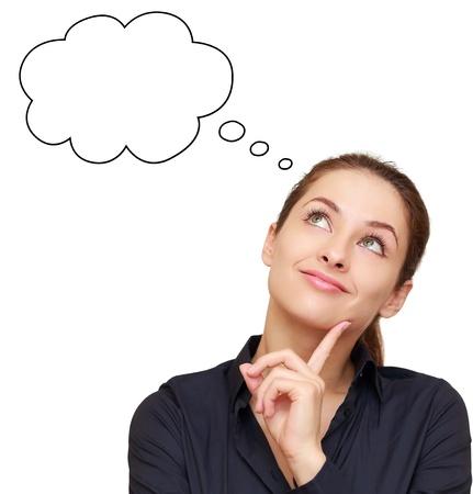 mujeres pensando: Pensando en la mujer de negocios mirando hacia arriba en la burbuja de vac�o aislado en blanco Foto de archivo