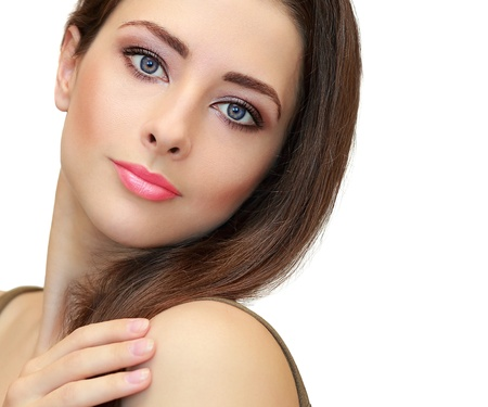 Beauty makeup female face looking  Closeup isolated portrait on white background Stock Photo - 20110655