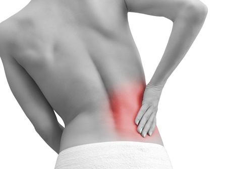 masaje deportivo: Mujer sosteniendo la mano de su espalda en el dolor deporte aislado en el fondo blanco