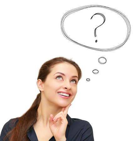 Thinking smiling woman with question sign in bubble above isolated on white background