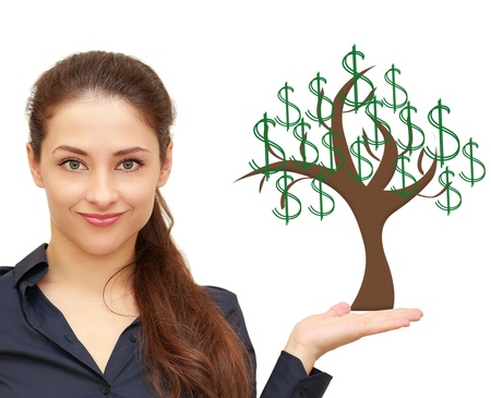 Beautiful woman holding on hand money tree with green dollars isolated on white background photo