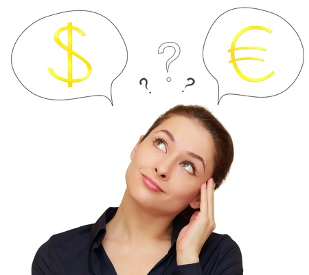 financial questions: Business woman thinking about euro or dollar currency isolated on white background Stock Photo