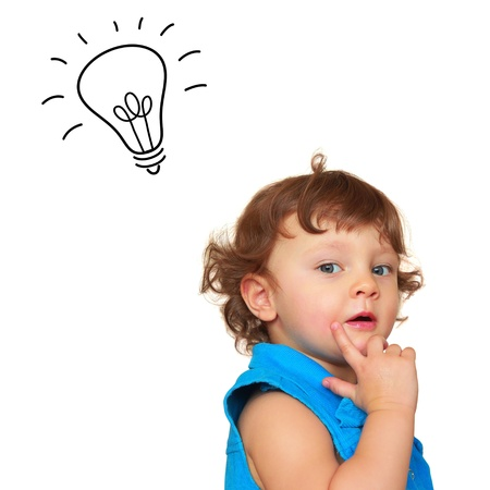 blue brain: Thinking baby girl with idea light bulb above head isolated on white background Stock Photo