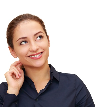 business mind: Business thinking woman with hand at face looking on copy space isolated  Closeup portrait