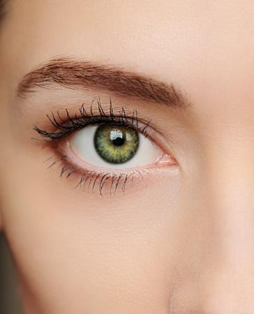 아름 다운 여자의 매크로 녹색 눈 근접 촬영 초상화