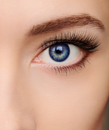 Closeup beautiful blue woman eye with long salon lashes looking photo