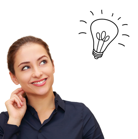 woman looking up: Happy thinking woman looking up with idea bulb above head isolated on white background