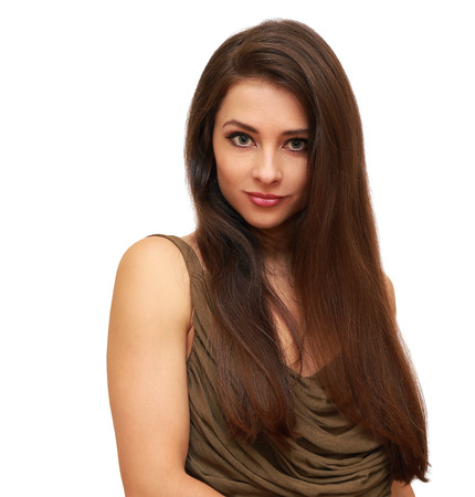 Beautiful long hair woman looking isolated on white background photo
