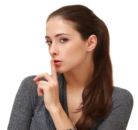 Portrait of fashion women the secret sign isolated on white background Stock Photo - 23462099