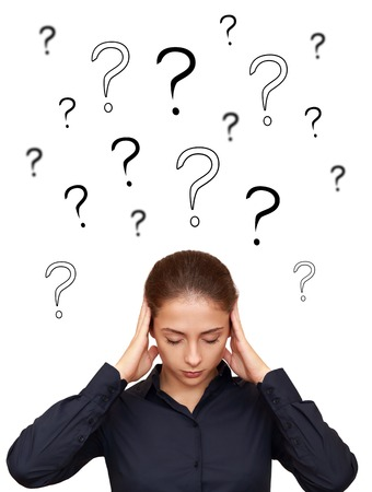 Business woman thinking hard with many questions above the head
