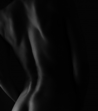 nude ass: Sexy perfect woman back  Black and white portrait