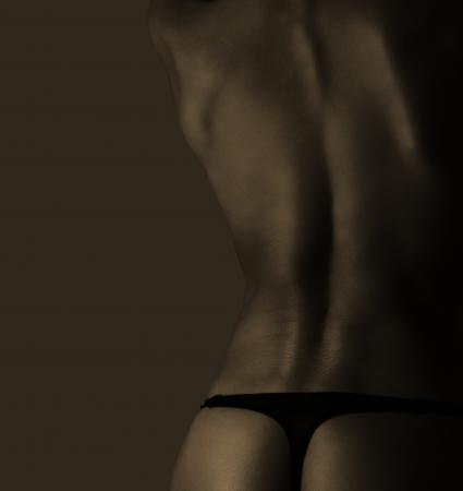cuerpos desnudos: Sexy mujer desnuda volver en el color de la vendimia