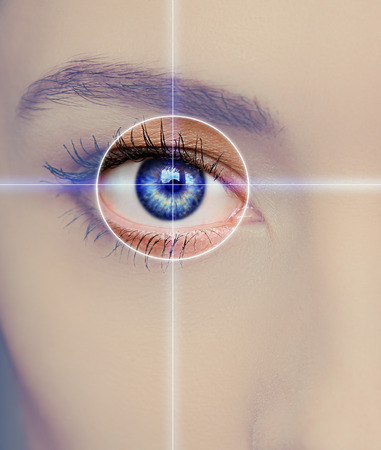 Eye technology, medicine and vision concept  Focus on blue woman eye photo