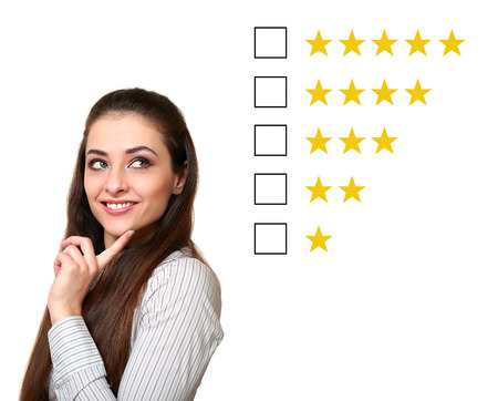 Woman thinking and choosing about feedback rating photo