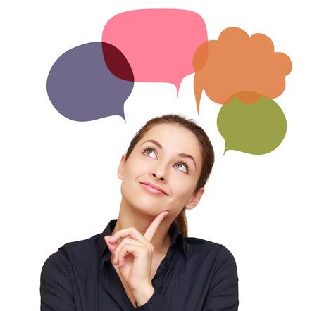Penser femme avec beaucoup de bulles colorées tableau ci-dessus isolé sur fond blanc
