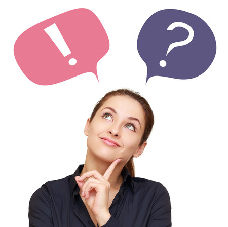 Thinking woman with colorful question mark and exclamation in balloons isolated Stock Photo