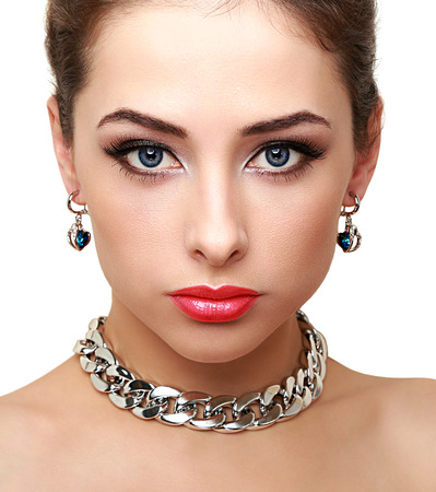 Bright perfect woman makeup  Closeup isolated portrait photo