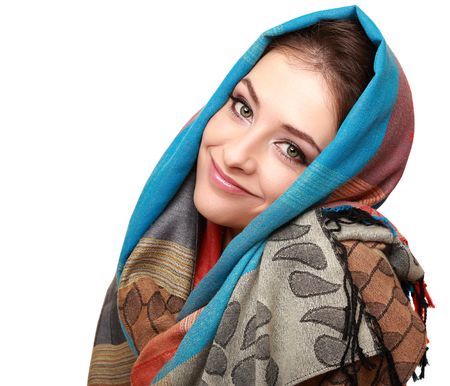 Happy smiling woman in modern shawl isolated on white background photo