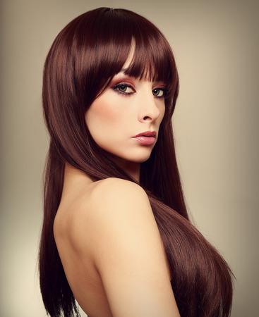 Beautiful woman with long hair  Art closeup portrait photo