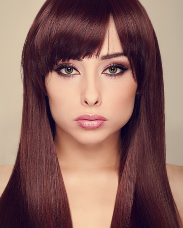 Beautiful makeup woman with long shiny hair  Vogue closeup portrait photo