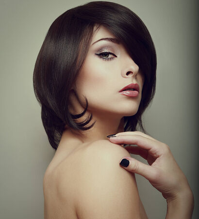 Sexy makeup woman  Black short hair style  Vintage portrait photo
