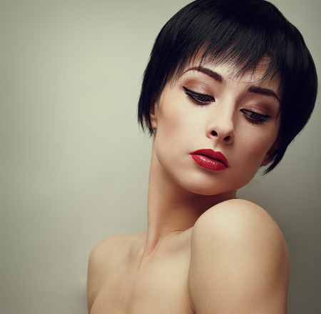Sexy bright makeup woman with black short hair style looking  Vintage portrait Stock Photo - 28299715