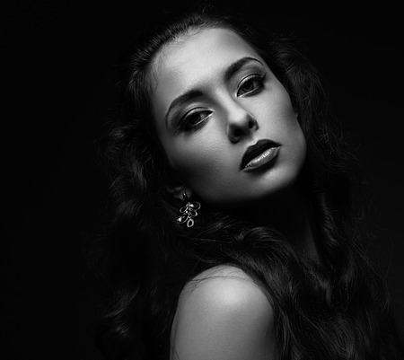Seductive beautiful woman portrait  Black and white portrait photo