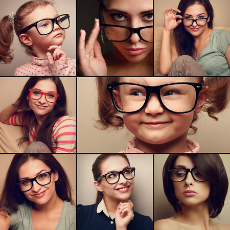 women glasses: Happy smiling portrait collage collection from people in glasses looking  Fashion style of woman and kid on different background
