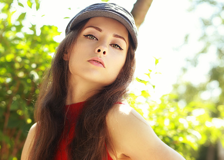 Sexy passion woman posing outdoors summer background photo