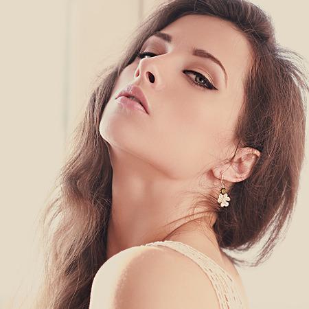 Soft light portrait of sexy female model posing  Closeup art portrait photo